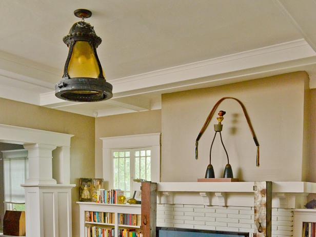 Craftsman Living Room with Ceiling Light