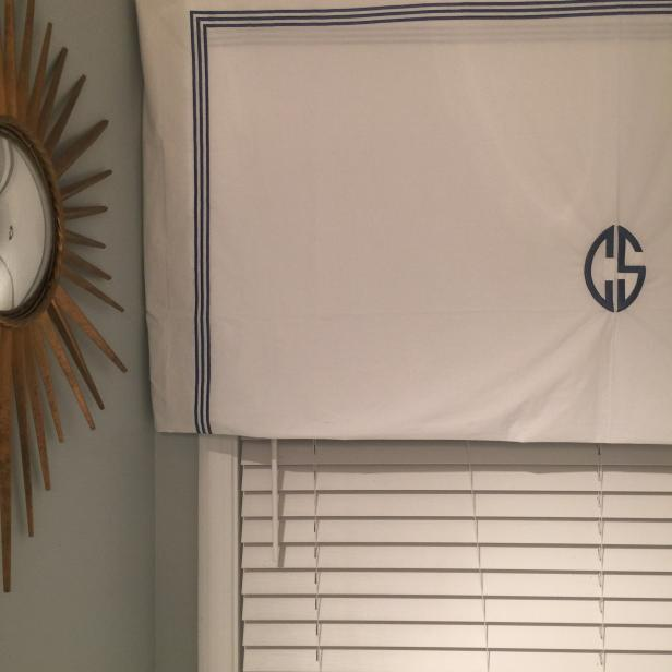 Monogrammed White and Blue Valance
