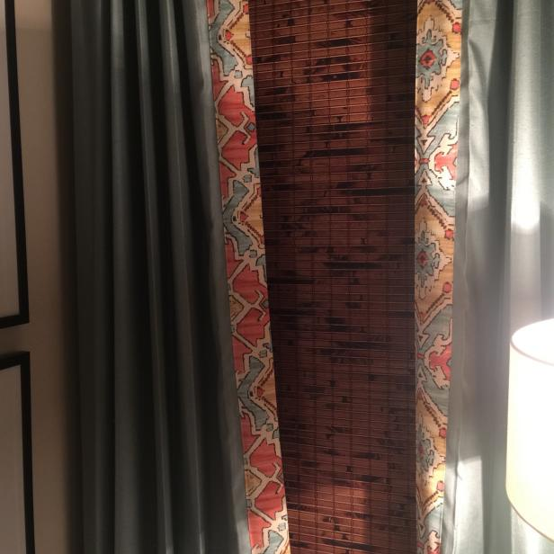 Bedroom Curtains with Patterned Custom Trim