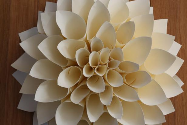 Finishing the Center of the Paper Dahlia.
