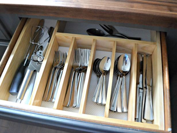 DIY flatware drawer organizer