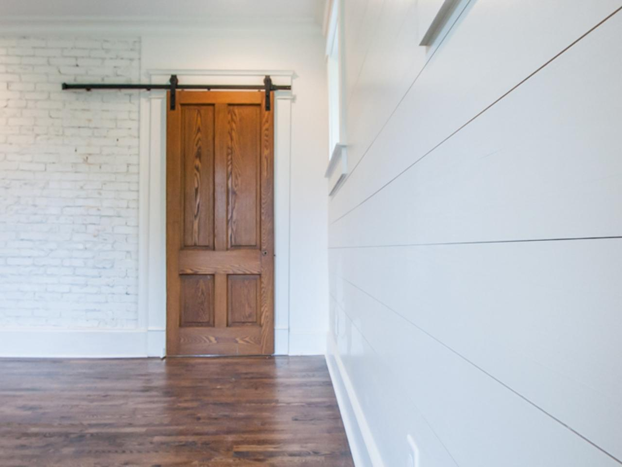 Sliding Door Near Brick And Shiplap Walls