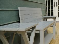 See how we used a reclaimed beadboard door to build a garden bench and matching table.