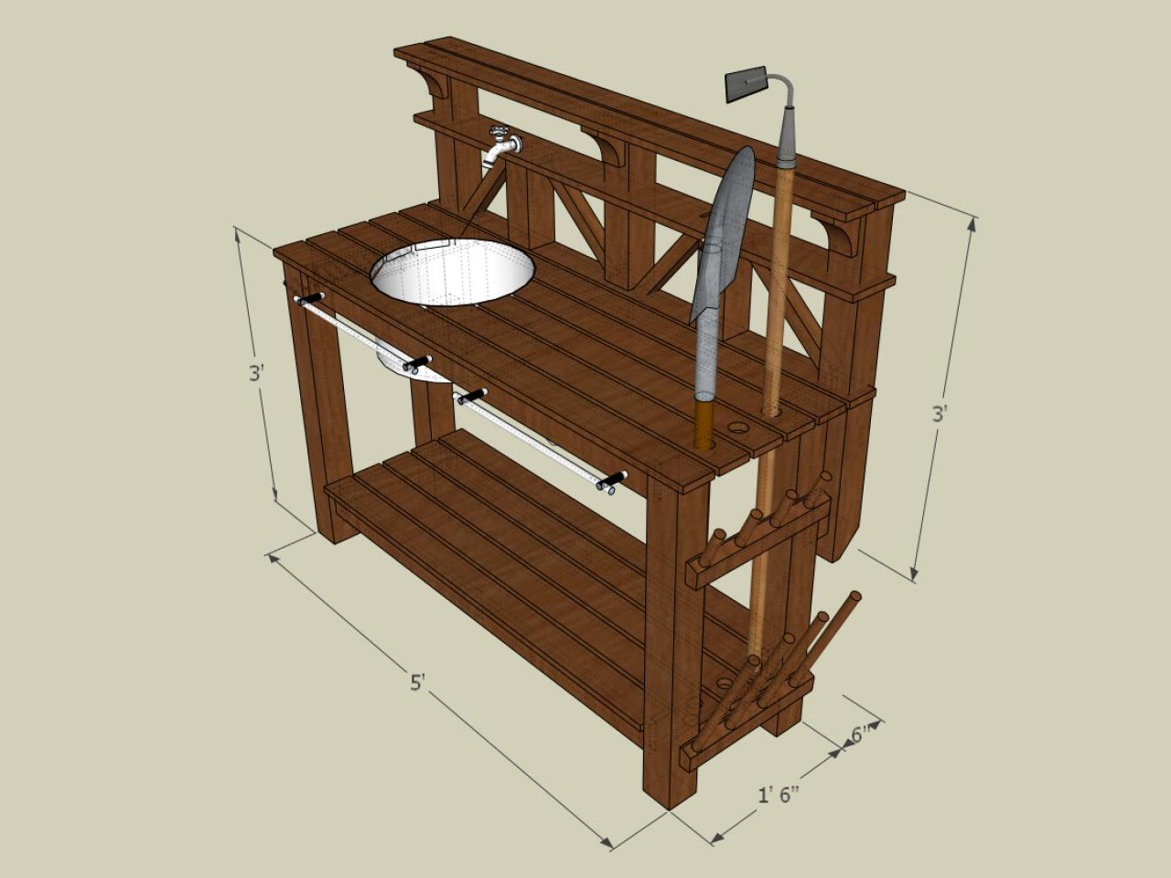 How to Make a Gardeners Potting Bench howtos – Garden Workbench Plans