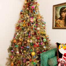 Gold Christmas Tree With Multicolored Ornaments