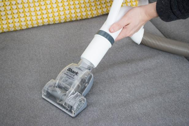 Cleaning pet fur in the home with a vacuum.