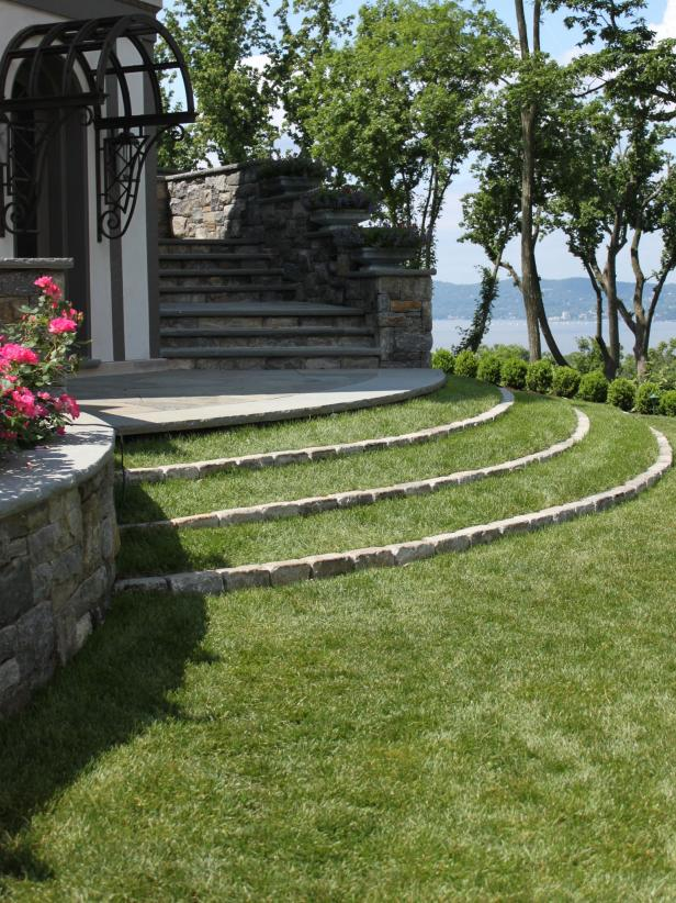 Curving Stone Steps with Grass