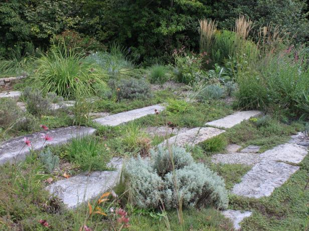 Granite Block Steps in Gravel Garden