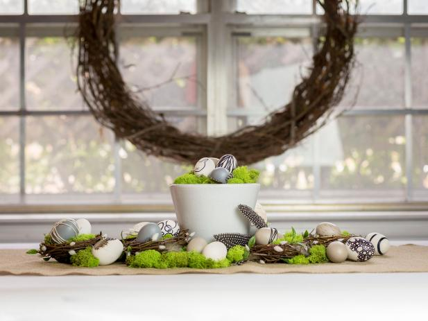 Simple Modern Easter Table Centerpiece