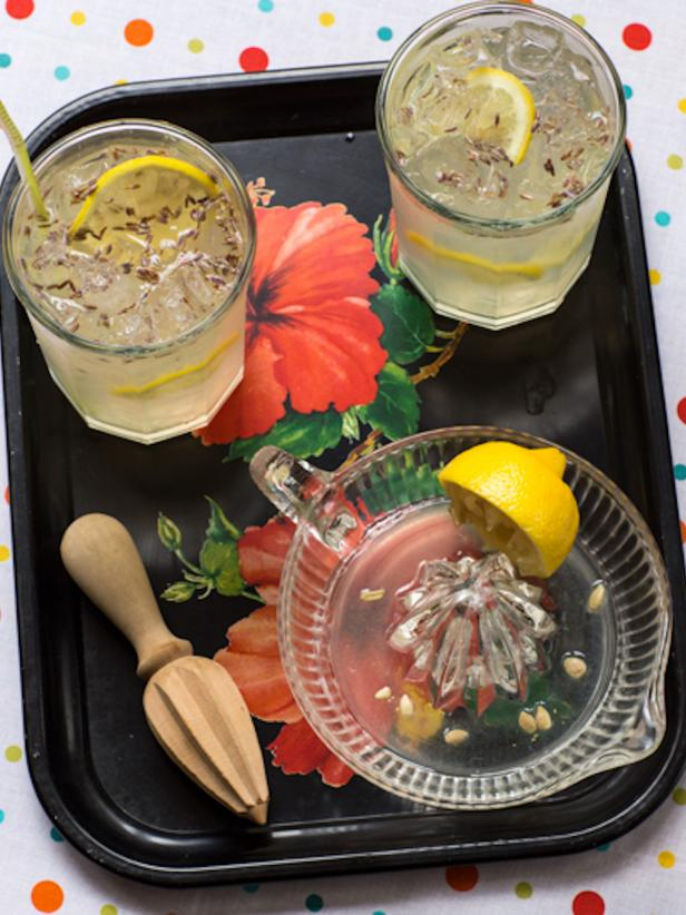 Floral Tray with Lavender Lemonade