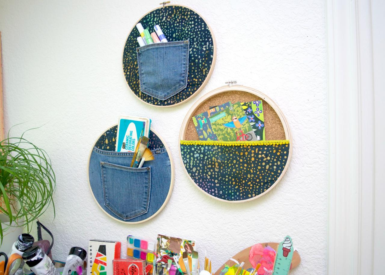 Stylish Storage Solution Diy Embroidery Hoop Wall Pockets Diy
