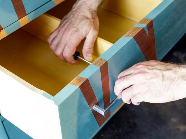 DIY Network shows you  how to make a modern painted dresser.