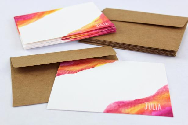 DIY Personalized Watercolor Stationery