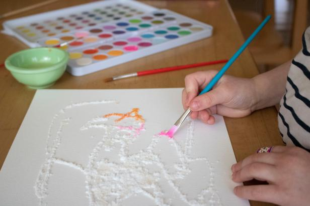 How to use watercolors to create salt art.